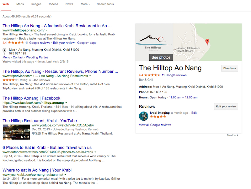 Hilltop Restaurant Ao Nang Phuket Web Design and Development